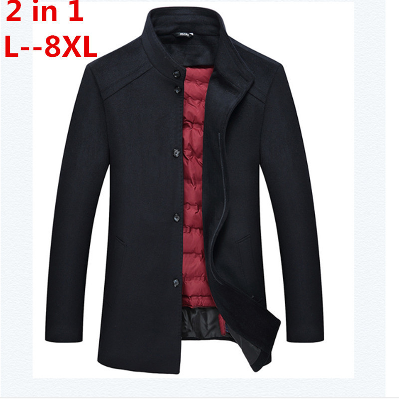 Plus size 8XL <font><b>7XL</b></font> 6XL 5XL Men's business casual Long Wool & Blend jacket Male Single Breasted woolen <font><b>coats</b></font> outwear Windbreaker image