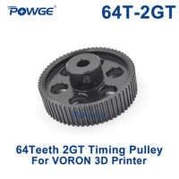 POWGE VORON DISEGNO 64 Denti 2MGT 2GT Puleggia Dentata Bore 5 millimetri per GT2 2M Aperto cinghia Sincrona cinghia di larghezza 9 millimetri 64 Denti 64 T 3D stampante