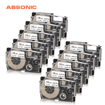 Absonic 10PCS XR-18WE Black on White Label Tape for Casio KL-G2 KL-120 KL-130 KL-200 CW-L300 KL-430 KL-C500 KL-750 KL-8800 Print фото