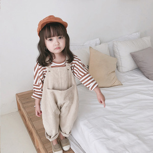 Image 2 - 2020 Spring Korean style baby girls corduroy loose overalls cute kids casual all match suspender trousers bib pants