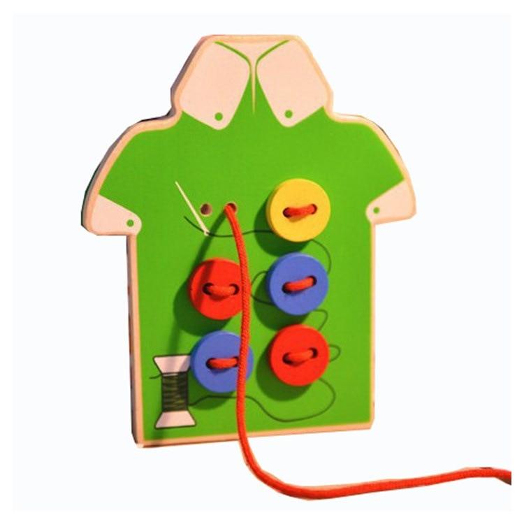 Kindergarten Montessori Early Childhood Beaded Bracelet Wooden Children'S Educational Handmade Wear Series Sew On A Button Game