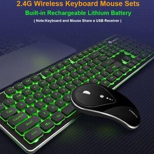 Image 1 - Gaming Draadloze Toetsenbord Muis Combo 104 Toetsen Waterdicht Regenboog Backlight Voor Pc Laptop Gamer Games Muizen En Toetsenborden Kit