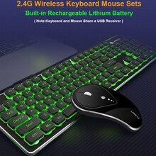 Oyun kablosuz klavye Mouse Combos 104 tuşları su geçirmez gökkuşağı arka PC dizüstü Gamer için oyun fareler ve klavye kiti
