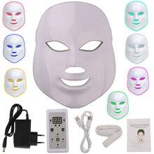 Mascarilla Facial con fotones LED para el cuidado de la piel, rejuvenecimiento, eliminación de arrugas y acné, 7 colores