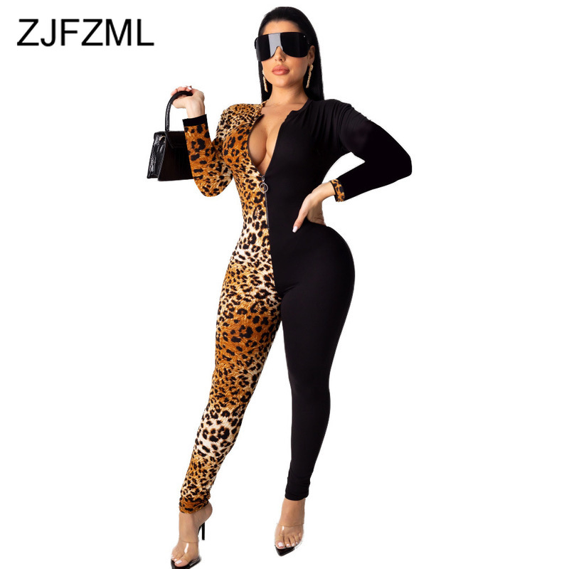 Leopard Panelled Sexy Bodycon Rompers Womens Jumpsuit V-Neck Front Zipper Bandage Jumpsuits Long Sleeve Skinny One Piece Overall