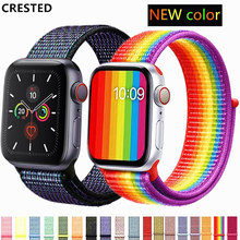 Strap For Apple Watch band apple watch 4 5 3 band 44mm/40mm Sport loop iwatch band 5 42mm 38mm correa pulseira nylon watchband(China)