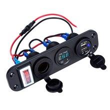 รถ USB ไฟแช็กโวลต์มิเตอร์ดิจิตอล Dual USB Power Charger 12V ซ็อกเก็ตกันน้ำกันฝุ่นพร้อม Rocker Switch