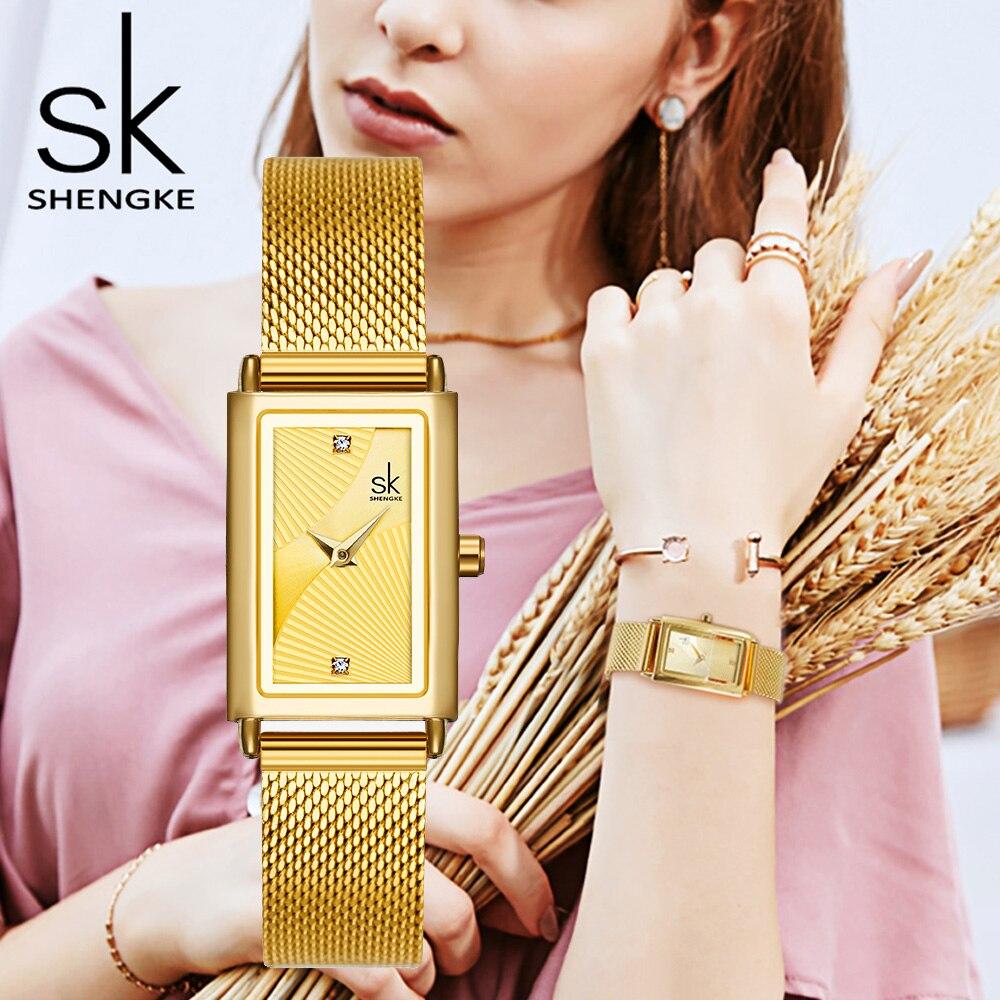 Luxury Gold Women Square Watch Waterproof Stainless Steel Female Watch Rhinestone Minimalism Simple Women Quartz Dress Watch