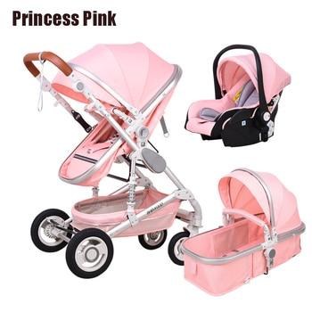 Newborn Baby Stroller 3 in 1 High Landscape Carriage Luxury Travel Pram Basket quality Stroller Baby Car seat Hot Sale Upgrade! 13