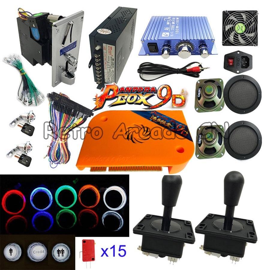 Bricolage jeux d'arcade Kits pièces jeu vidéo Pandora Box 9D 2226 en 1 avec alimentation Jamma câble Joystick bouton poussoir éclairé
