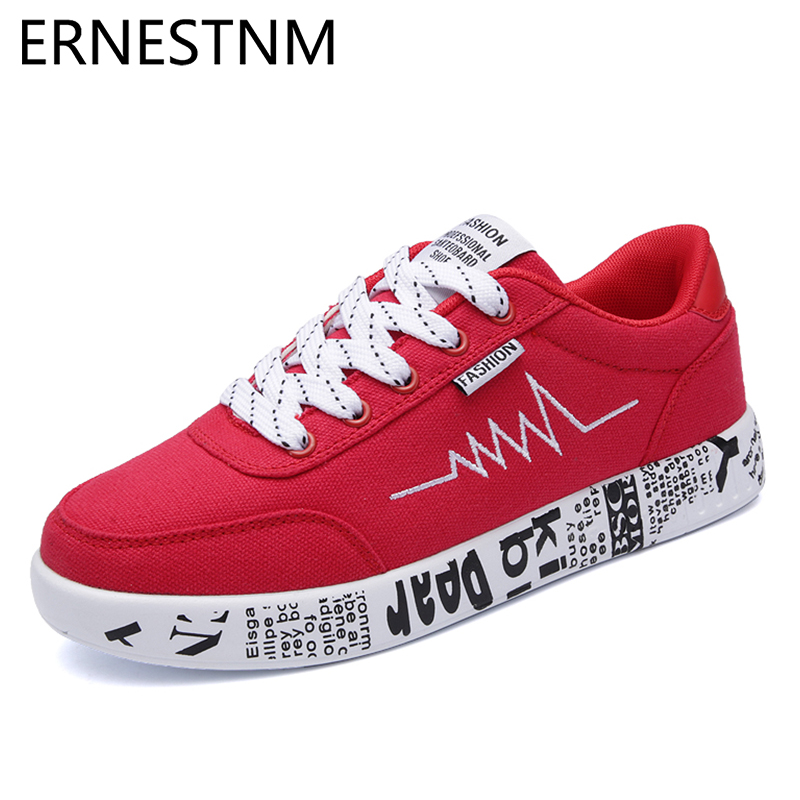 ERNESTNM Sneakers Women 2020 Fashion Vulcanized Shoes Ladies Lace-up Men Casual Shoes Breathable Walking Canvas Graffiti Flats