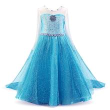 Fancy 4-10Yrs Baby Girls Princess Dress Halloween Party Cosplay Elza Costumes Queen Elsa Dresses Fantasia Children's Clothing(China)