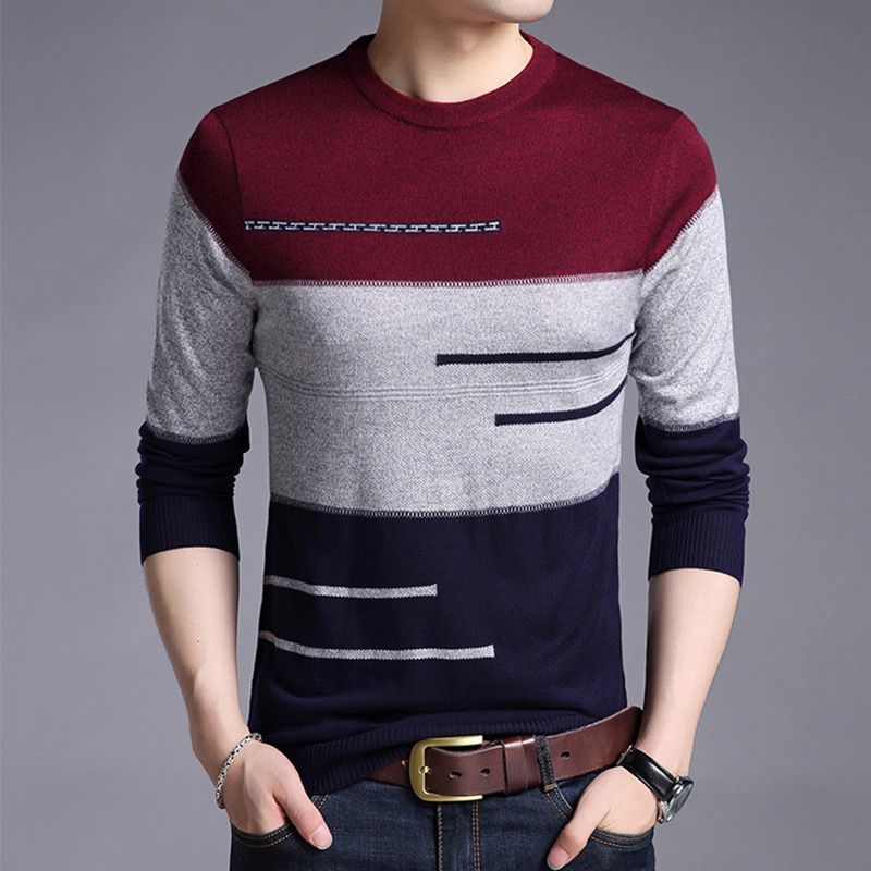 2019 Autumn Brand Male Wool Pullover Sweater Men Knitted Jersey Striped Sweater Mens Knitwear Fashion Korean Style Man Tops
