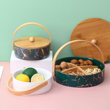 Japanese ceramic separated fruit tray household snack tray with lid hard water fruit tray dry fruit tray grain container
