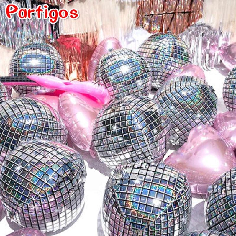 5 шт., 22 дюйма, 4D диско металлических воздушных шаров с воздушными шарами лазерный Фольга шар Свадебный декор 80s 90s ретро популярные вечерние ...