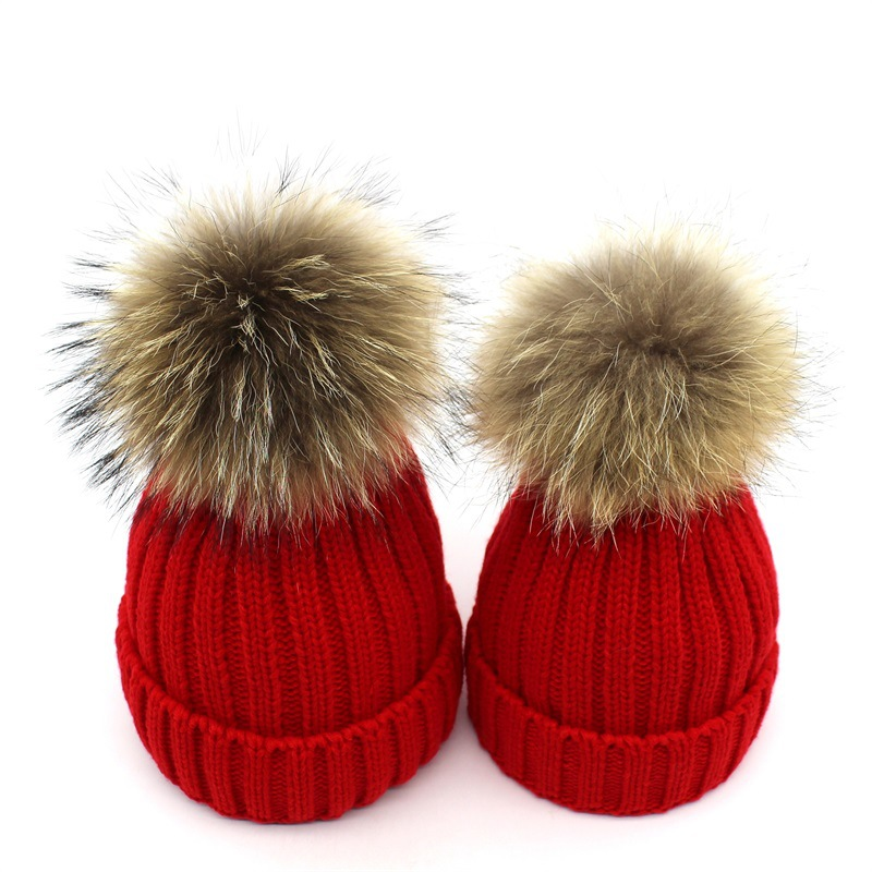 OUBR Womens fashion knit hat childrens thick warm simple outdoor anti-freezing cap fur ball cute