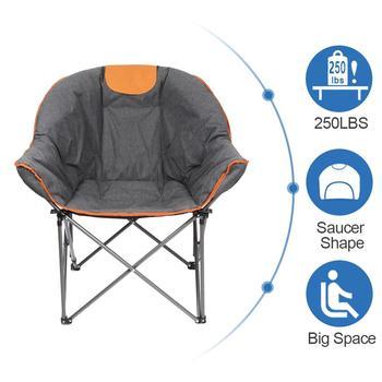 US Stock Oversize Padded Moon Leisure Portable Stable Comfortable Folding Chair for Camping, Hiking  Carry Bag Sofa Chair кресло складное kingcamp moon leisure chair цвет синий