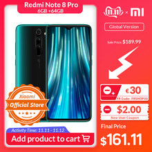 "Get €20 Off by Code ""ALISINGLESDAY2019"" Versión Global Xiaomi Redmi Note 8 Pro 6GB 64GB teléfono móvil 64MP Quad Cámara MTK Helio G90T Octa Core Smartphone 4500mAh NFC(China)"