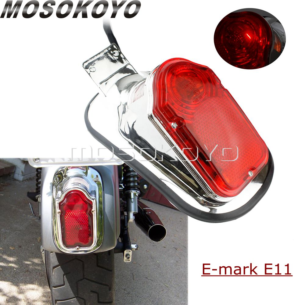 Retro Motorcycle Tombstone Rear License Plate Brake Tail Lights For Harley Cafe Racer Bobber YAMAHA Custom E-MARK Tail Lamp