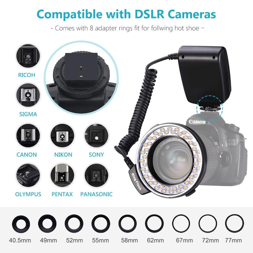MAMEN 48 Macro LED Ring Flash Light With 9 Adapter Ring For Nikon Canon Pentax Olympus Panasonic Camera DSLR Ring Flash Kit 6