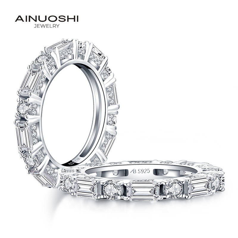 AINUOSHI 925 Sterling Silver Full Eternity Band Rings Women Engagement Simulated Diamond Wedding Silver Bridal Rings Jewelry