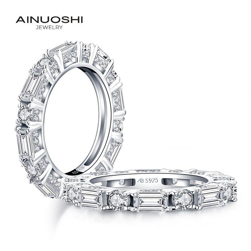 AINUOSHI 925 bague en argent Sterling pour l'éternité complète bagues de fiançailles pour femmes diamant simulé de mariage bagues de mariée en argent bijoux