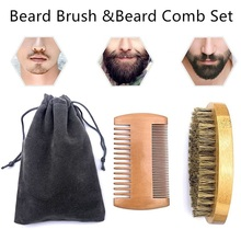Natural Combs Beard Eco Friendly Shaving Brush Beard Comb Kit For Men Beard Mustache Repair Set Bristle Hair Professional