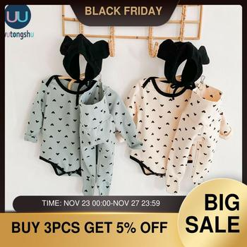 3 pcs Newborn Baby Girl Boy Clothes Sets Cartoon Long Sleeve Bodysuits + Pants + Hat Outfit Set Tracksuit Baby Clothes cotton 2pcs newborn clothes cute cartoon baby boy clothes tops pants outfit suits baby tracksuit set t08