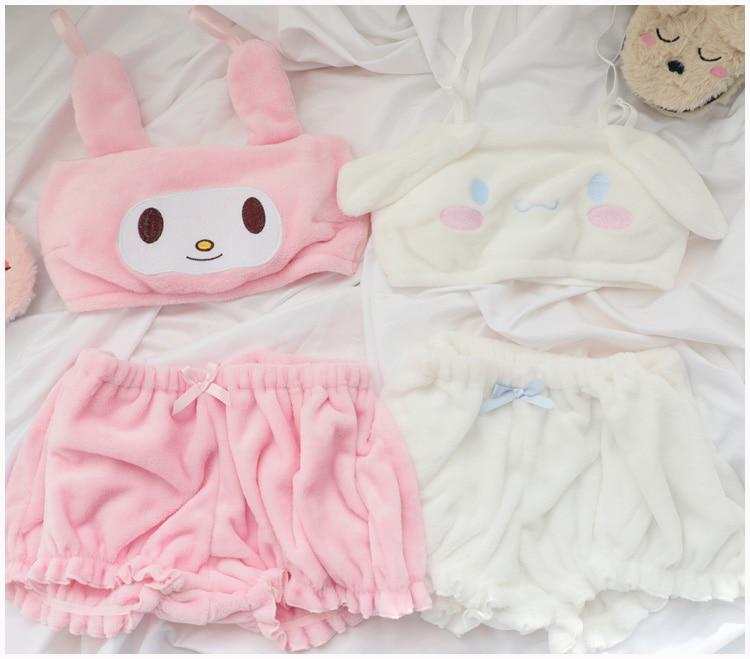 Lovely Japan Melody Off Shoulder Strapless Tube Crop Top Pumpkin Pants Suit Cinnamoroll Cosplay Beach Party Streetwear