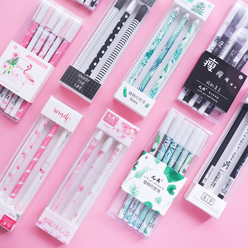 3 6Pcs Cute Cartoon Gel Pen Flamingo Simple Ballpoint Pen For School Office Writing Supply Kawaii Stationery 0 5mm in Gel Pens from Office School Supplies