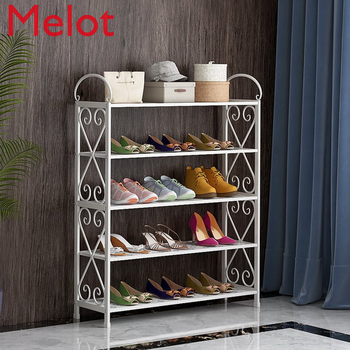 Simple shoe rack home economy dormitory dust-proof shoe cabinet space assembly door small shoe rack stainless steel shoe rack oxford cloth simple shoe rack dormitory multilayer shoe storage rack stackable storage rack