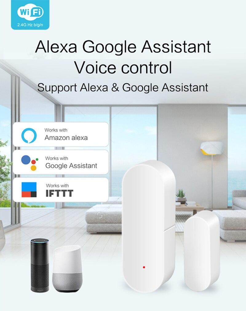 2019 Новый дверной/оконный детектор, WiFi приложение, уведомления, оповещения, на батарейках, домашний датчик безопасности, поддержка tuya alexa google ...