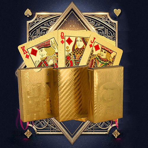 Luxury Gold Foil Playing Card Holders Poker Stand Seat Lazy Poker Game Poker Play Cards Dollar EUR Plaid Pattern Party Play Game image