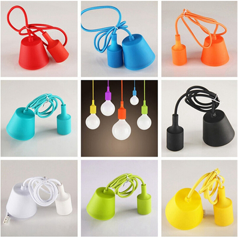 Colorful Edison Modern Pendant Lights Vintage Silicone Bulb Socket Hanging Light E27 Drop Lighting Creative DIY Lamp Holder