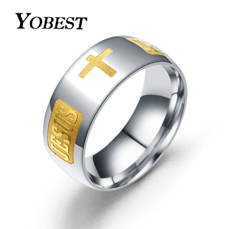 Yobest 316 titânio aço banhado a prata anel cristão jesus cruz carta bíblia prata casamento anel banda
