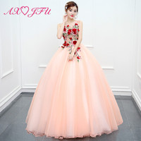 AXJFU luxury princess pink lace host evening dress vintage o neck beading sleeveless red flower ball gown pink evening dress