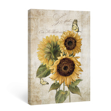 Canvas Painting Posters Sunflower Rustic Bedroom Home-Decor Bathroom-Pictures Wall-Art
