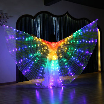 LED Wings Light Stage Light for Belly Dance 360 Degree Swing Costume Night Lamp Rainbow Color LED Wings for Halloween Xmas Decor