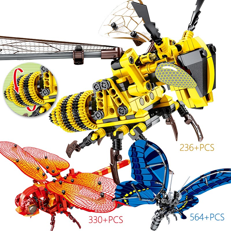 Simulated Insect Butterfly Bee Red Dragonfly Model Building Blocks Legoingly Creator DIY Educational Bricks Sets Toys For Kids