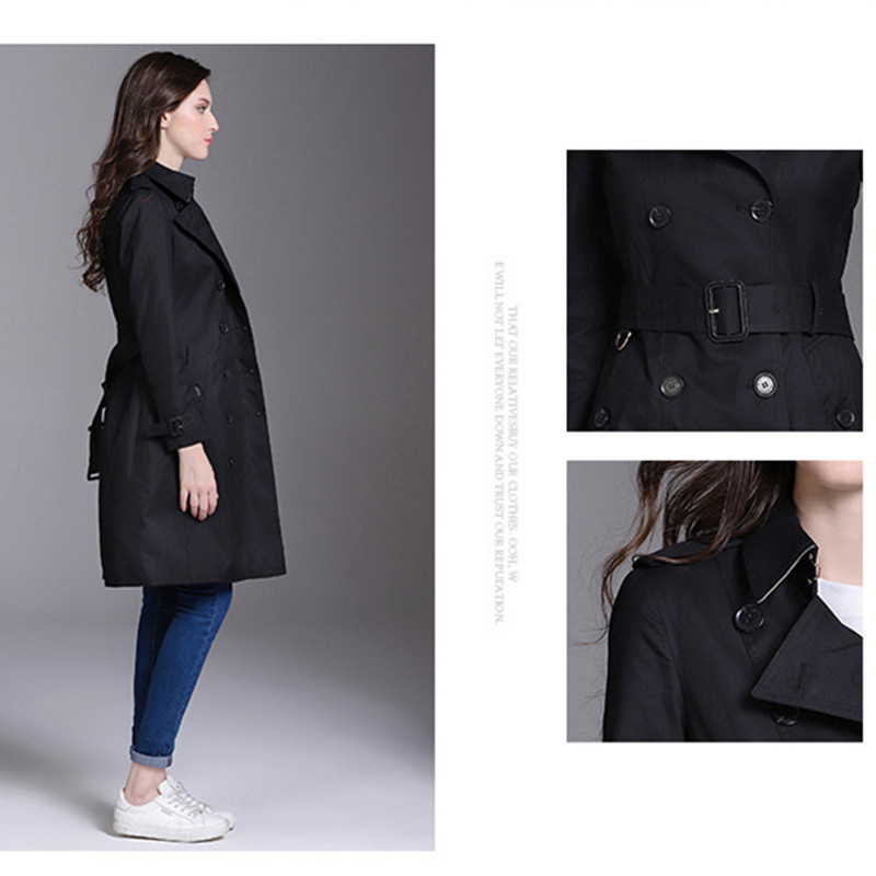 Autumn Winter Luxury Brand Windbreaker Women's Quality Design Outerwear Lapel Double Breasted Coat With Belt Buckle Belt Trench