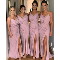 Chiffon Bridesmaid Dresses Spaghetti Straps Bridemaid Dress Split Side for Wedding Party Dress In Stock