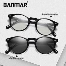 BANMAR Photochromic Polarized Sunglasses Men Round TR90 Chameleon Glasses For Day Night Driving Anti-glare Eyewear Gafas