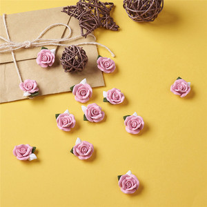 Image 3 - 40pcs Handmade Porcelain Cabochons Pink Flower Clay Beads for Jewelry Making DIY Bracelet Necklace 23~25x20.5~21x10~11mm