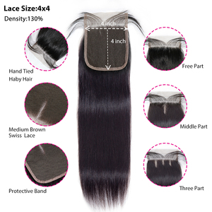 Image 3 - 30inch Straight Hair Bundles With Closure Natural Human Hair 3 Bundles With Closure Brazilian Hair Weave Bundles 4x4 Swiss Lace