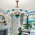 Европейская роскошная синяя хрустальная люстра для гостиной, столовой, спальни, средиземноморская стеклянная люстра из цинкового сплава