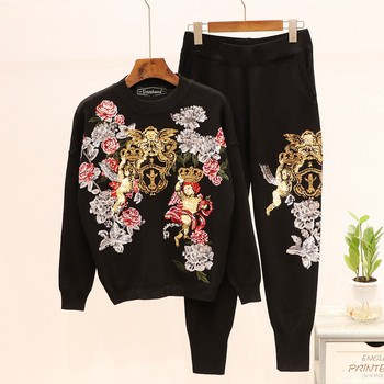 Europe style women high quality knitting sweat suit  2019 Autumn sequins floral sweaters+casual pants two piece set A934