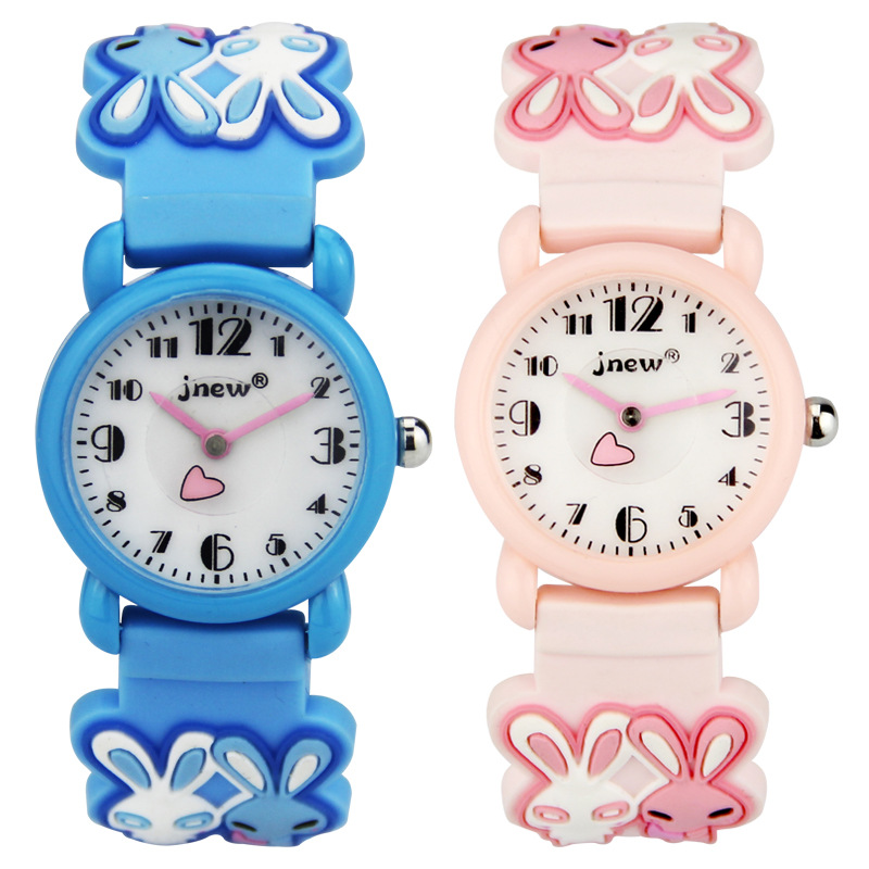 Children Watch Rabbit Cute Cartoon Waterproof Quartz Watch Silicone Strap Girl Gift Learn Time Clock