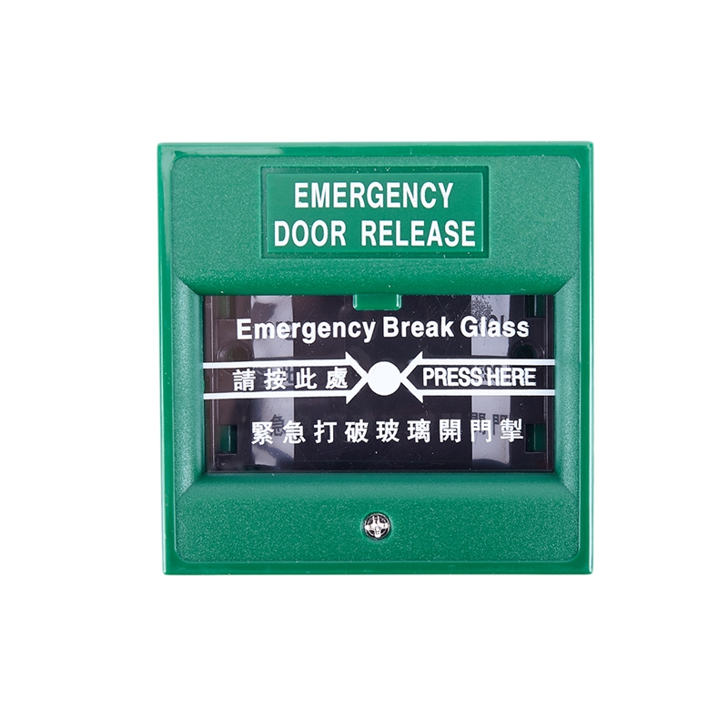 Green Security Alarm Fire Break Glass Button Emergency Door Release