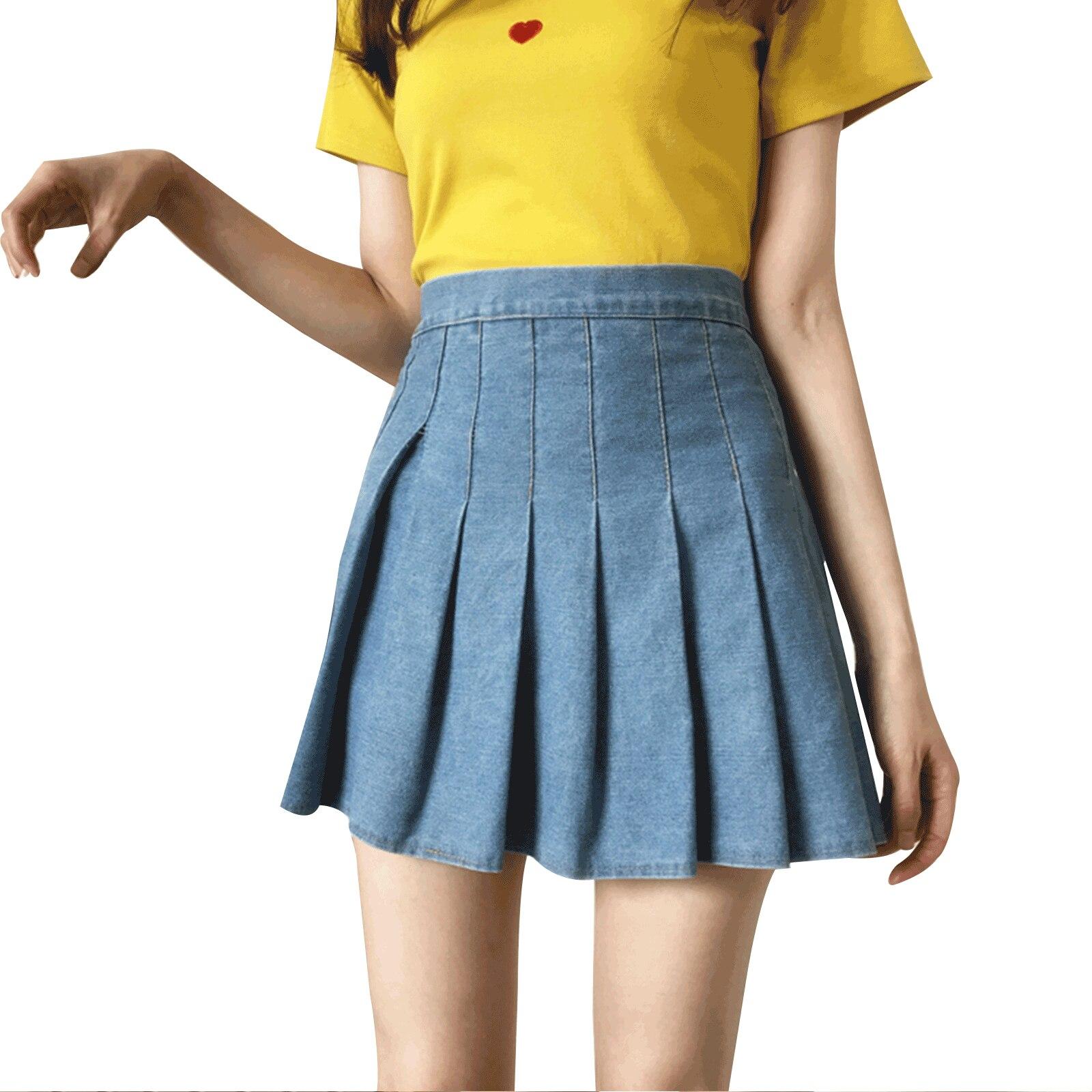 Women's Korean Denim Color Skirt Summer Fashion High-waist A-line Pleated Short Skirt