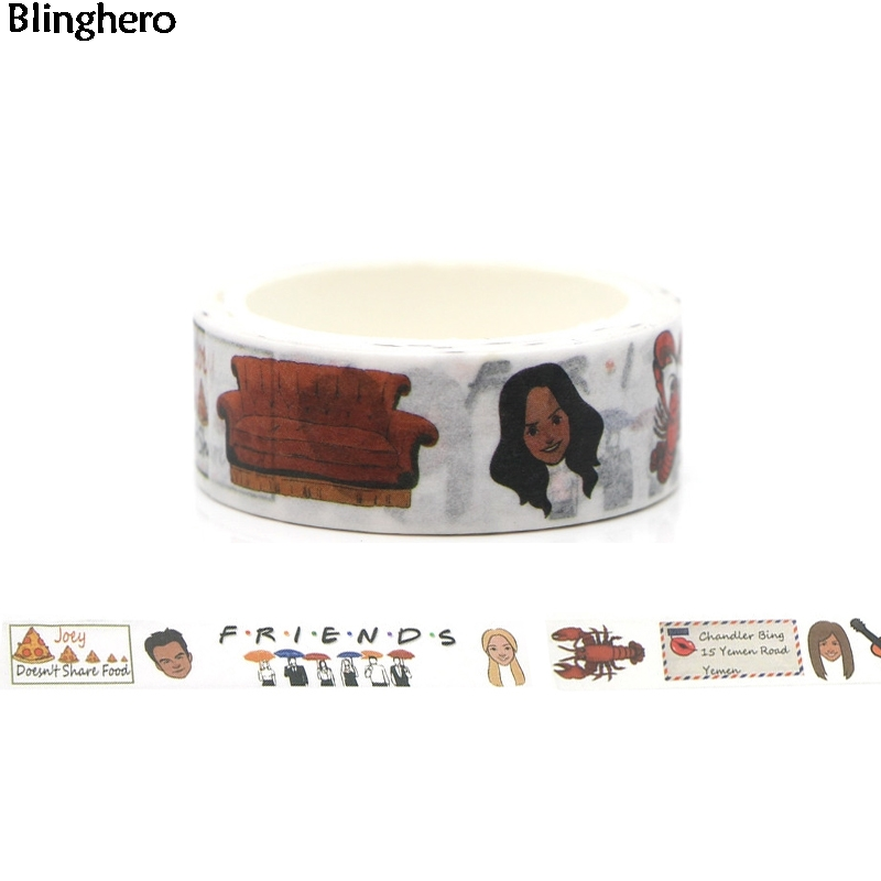 Blinghero Friends 15mmX5m Decorative Washi Tape Funny Adhesive Tape Diy Masking Tape Printing Tapes Scrapbooking Sticker BH0003